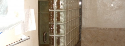Glass block shower and tub
