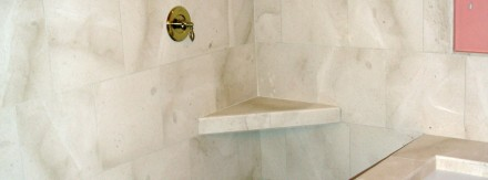 Marble shower and bathtub