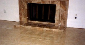 Custom tiled fireplace and floor