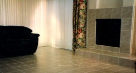 Tiled fireplace and floor