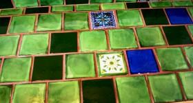 Custom green bathroom countertop