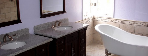 Complete bathroom remodel w/dual sinks, clawtub, and custom floor tiles