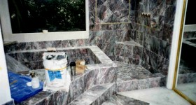 Marble bath and shower in progress