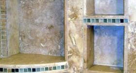 Custom shower shelves