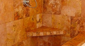 Shower with built-in seat