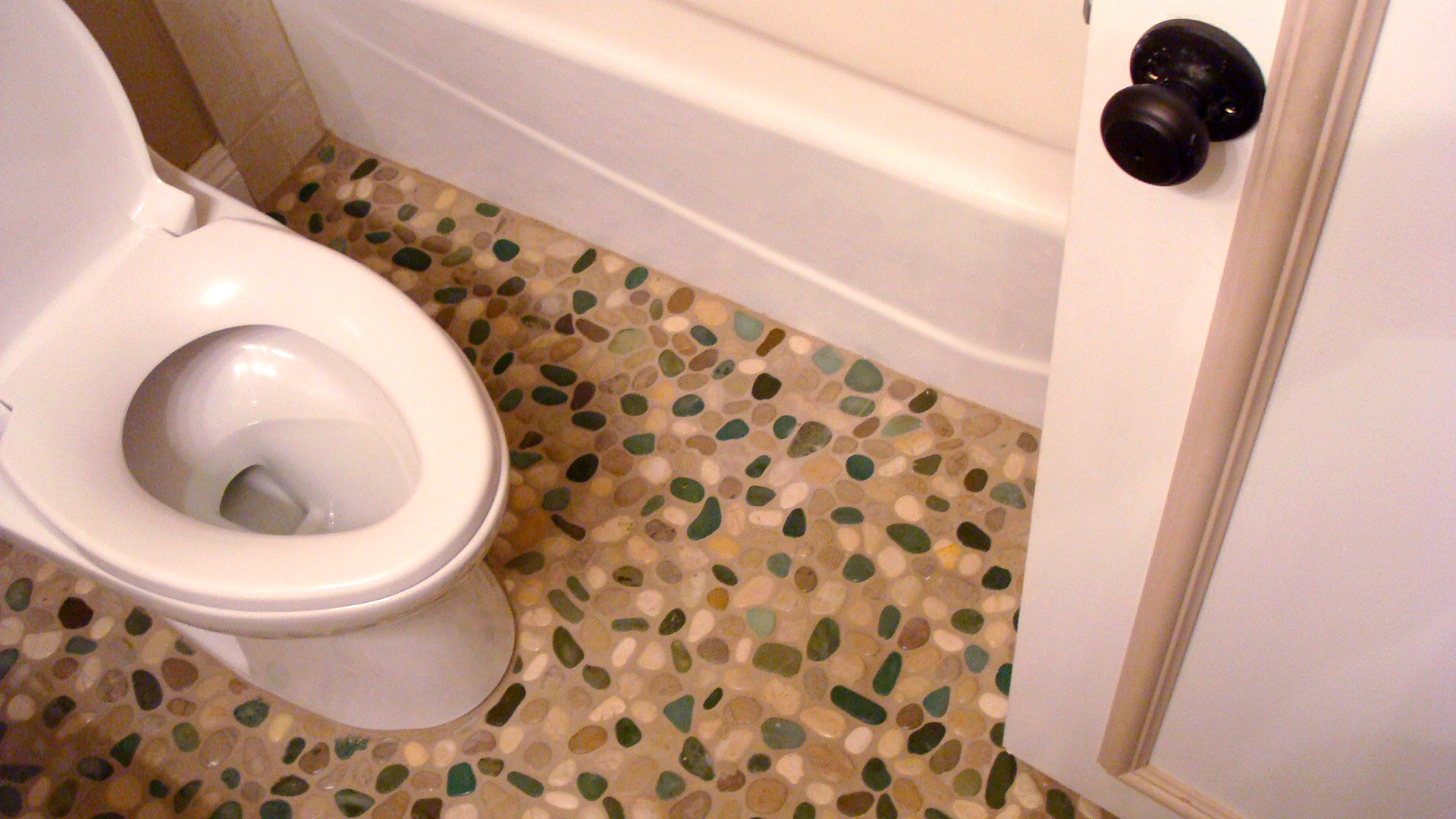 Bathrooms Bohemian Tile And Marble - Pebble tiles for bathroom floor